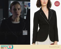 Jemma's black blazer with leather trim on Agents of SHIELD.  Outfit Details: http://wornontv.net/30415/ #AgentsofSHIELD