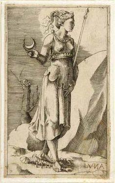 """Julius Bonasoni, """"Luna"""" (with her sign Cancer), 16th century"""