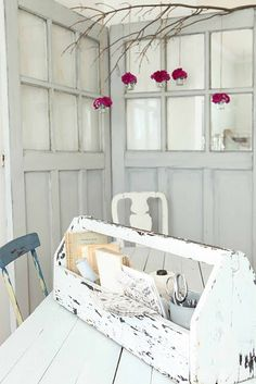 I live the tree limb with hanging tea lights, I love the door room divider and I love the tool bin stationary set carrier!