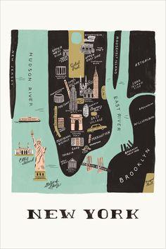 Rifle paper & co – Design Anna-Bond – New York … - Grafik Design Anna Bond, New York Poster, Poster S, New York City, Map Of New York, Carte New York, Deco New York, New York Tipps, Bucket List Travel