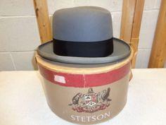 fba590364e62f Vintage 50 s Royal DeLuxe STETSON St. Regis Gray Homburg Fedora Hat   Box~7  1 4