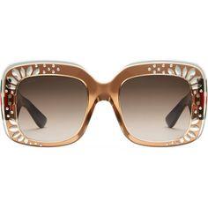 9ccf9bfec43ea7 Gucci Oversize Square-Frame Rhinestone Sunglasses (31.545 RUB) ❤ liked on  Polyvore featuring