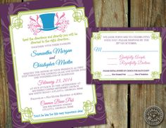 Madhatter Alice in Wonderland inspired wedding by HydraulicGraphix, $26.50. Ideas for invitations.