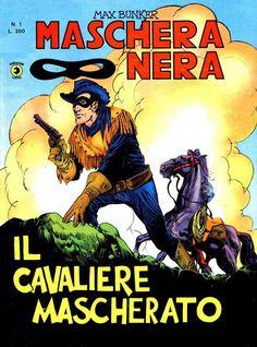 """Ristampa del marzo 1977 del primo numero di """"Maschera Nera"""", nata nel marzo 1962 ad opera del grande Luciano Secchi, in arte Max Bunker. #FumettiItaliani #MaxBunker #MascheraNera #FumettiWestern"""