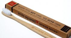These toothbrushes are made from bamboo AND if you buy one they give one to a child in need