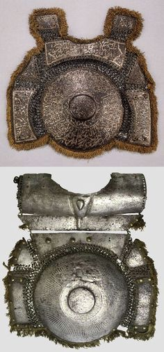 Ottoman empire krug (chest armor), steel plates with riveted mail, as worn by fully armored cavalryman (sipahi) in conjunction with migfer (helmet), dizcek (cuisse or knee and thigh armor), zirah (mail shirt), kolluk/bazu band (vambrace/arm guards), and kolçak (greaves or shin armor).