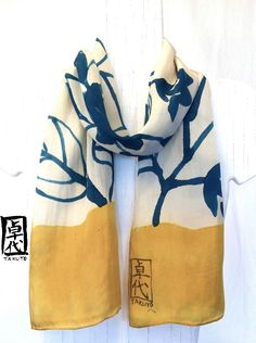 Hand Painted Silk Scarf, Mustard Yellow Floral Silk Scarf, Floral Japanese Scarf, Silk Dye. 7.5x52 in. Made to order.. $38.00, via Etsy.