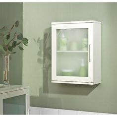 Frosted Pane Wall Cabinet - White