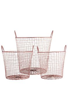 House Doctor Wire Kurve i Kobber Sæt af 3 stk. Copper Wire Basket, Wire Baskets, Storage Baskets, Storage Ideas, House Doctor, Warehouse Home, Kitchen Pantry Storage, Deco Rose, By Lassen
