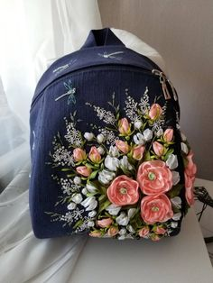 Items similar to Dark blue fairytale backpack,linen backpack,linen bag embroidered ribbons,flowers embroidered backpack,elf super stylish purple backpack on Etsy Embroidery Bags, Silk Ribbon Embroidery, Hand Embroidery Designs, Embroidery Stitches, Embroidery Patterns, Embroidery Supplies, Embroidery Techniques, Machine Embroidery, Linen Bag