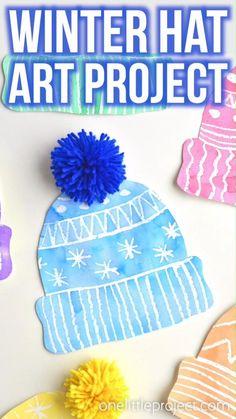 Kids Winter Hats, Winter Crafts For Kids, Winter Fun, Art For Kids, Winter Preschool Crafts, Winter Art Projects, Projects For Kids, Christmas Art Projects, Winter Project