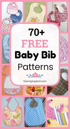 free baby bib patterns, tutorials, and diy sewing projects, many with printable templates. Make your own homemade baby bib. Great quick and easy diy baby shower gift. Kids Clothes Patterns, Baby Clothes Patterns, Sewing Patterns, Clothing Patterns, Stitching Patterns, Dress Patterns, Coat Patterns, Baby Sewing Projects, Sewing For Kids