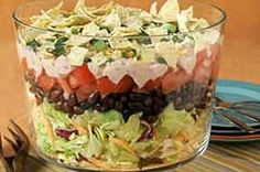 I have made a cornbread trifle salad which is delish.  Could do that with a taco salad and the bottom of the dish could be jalepeno cornbread...mmm