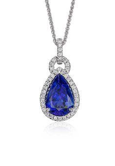 Sterling Silver Floating Purple Blue Tanzanite Spin Diamond Swirl Pear Pendant