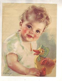 Vintage Artist Art Print Meday/Adorable Baby Girl/Toy Wooden Duck/Pink Cheeks.