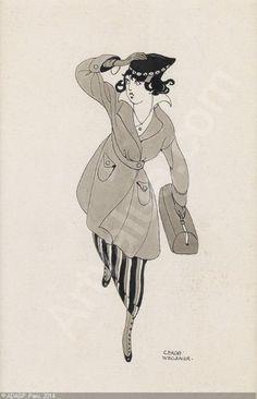 Gerda Wegener Late for Work! sold by Swann Galleries, New York, on Thursday, January 22, 2015