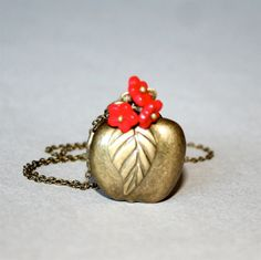 Apple and Flower Locket Necklace by smilesophie on Etsy