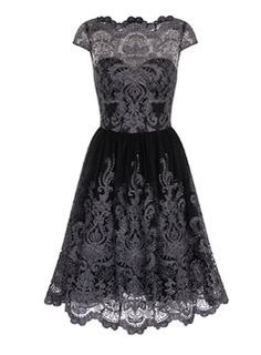 **Chi Chi London Black Cap Sleeve Baroque Tea Dress