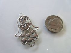 Ornate Hamsa Hand pendant Sterling Silver 925 by rockingems