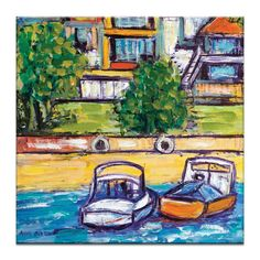 Boats by Anna Blatman Painting Print on Wrapped Canvas