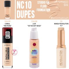 I have another MAC Studio Fix Fluid Foundation dupe to share with you! The next shade up on the dupe list is a very. Mac Dupes, Lipstick Dupes, Makeup Dupes, Mac Foundation Dupes, Foundation Shade, Makeup Revolution, Basic Makeup Kit, Loreal Skin, Mac Studio Fix Fluid