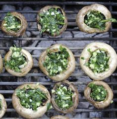"""Feta and Spinach Stuffed Mushrooms - Thumper - Bambi: """"'Eating greens is a special treat, It makes long ears and great big feet. But it sure is awful stuff to eat. Crab Stuffed Avocado, Light Summer Dinners, Barbecue, Cottage Cheese Salad, Tomato Vegetable, Veggie Bbq, Salad Dishes, Spinach Stuffed Mushrooms, Easy Salads"""