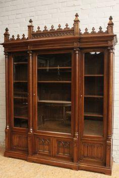 Walnut Gothic Bookcase Matching Desk