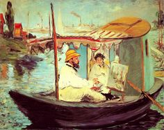 Édouard Manet (French, 1832–1883): Claude Monet Painting on His Studio Boat, 1874 (Oil on canvas)
