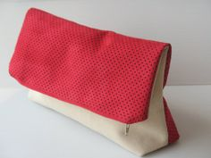 vegan evening clutch, off white and red clutch, color block purse, chic clutch, elegant bag, modern purse, foldover clutch