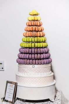 colorful macaron tower for wedding desserts at a Japanese Friendship Garden Wedding