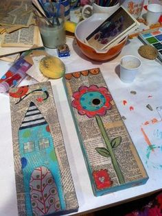 Old Book Pages and Bright Color - I love how this looks. Great project to do with kids - decoupage old book pages onto a piece of wood - let dry - use it as canvas for artwork - cheap, easy, rewarding!