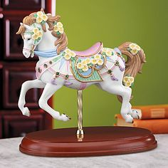 LENOX Figurines: Carousels & Unicorns - Emerald and Evening Primrose Gemmed Carousel Horse