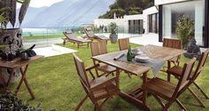 Conjuntos de teca para terraza http://www.artesaniadecoracion.com/tienda/TECA.html