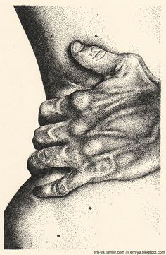 pointilism. beautiful lines and abstraction of body shape.