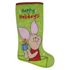 Disney Piglet Christmas Stocking Light Green with Red Trim Disney Christmas Stockings, Disney Christmas Decorations, Christmas Stocking Holders, Christmas Gifts, Tropical Christmas, Pottery Barn, Happy Holidays, Green, Cards
