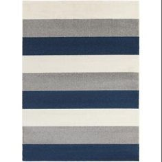 9.25' x 12.5' Bold Stripes Navy Blue, Winter White and Steel Gray Decorative Area Throw Rug