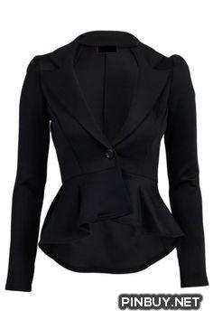 Crazy Girls Womens Ladies Fitted Dip Hem Peplum Style Blazer Jacket (US10, Black) Crazy Girls - Army Girl