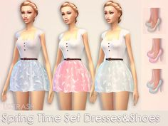 The Sims Resource: Spring Time Collection shoes and dress set by UKTRASH • Sims 4 Downloads