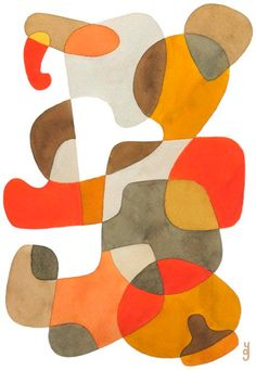 Walking  BIG Mid Century Modern Abstract Art by YolantaPrints, $28.00