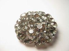 Vintage Stunning Weiss Smokey Clear All Rhinestone Brooch & Clip Earrings #Weiss