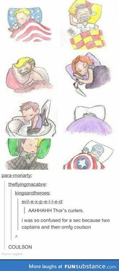 Natasha's knife and pistol, Bruce completely buried under the covers, Clint in his nest... and COULSON. :D