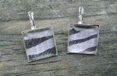 Zebra Print Earrings, Silver pierced tile type. $8.00, via Etsy.