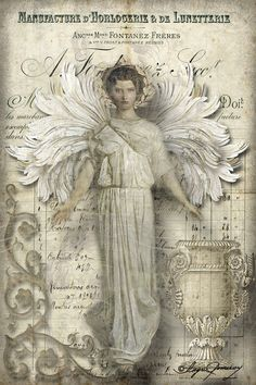 French Ephemera-Greek Goddess with wings and a lot of french script