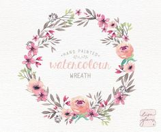Watercolor wreath: painted floral wreath clipart / Wedding invitation clip art / Peach and pink floral wreath / commercial use / CM0084e