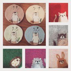 「過去に作ったコースター達。懐かしい。#再度作る機会がないので記念にご紹介#羊毛フェルト#コースター#ハンドメイド#猫#ハリネズミ#カワウソ#ポメラニアン#ウサギ#猫村さん#雑貨#雑貨屋#needlefelting#handmade#coaster」