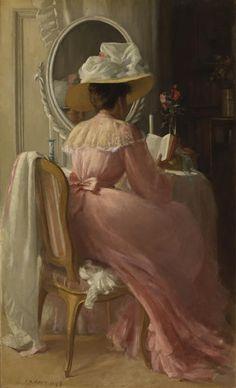 Patrick William Adam, RSA (British, 1854-1929), A Lady in Pink, oil on canvas