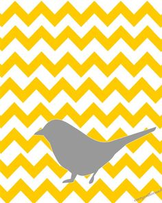 Gray bird on yellow chevron  via Etsy. Think of this in different colors with a bold Bargello background