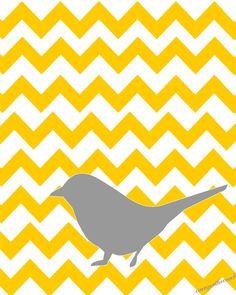 Gray bird on yellow chevron.