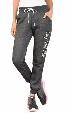 Women's Printed Only Good Vibes Fleece Jogger Sweat Pants Sweatpants All Sz
