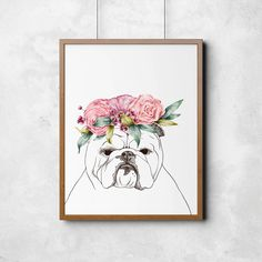 Bulldog with roses flowers and berries, bulldog poster, art print, illustration, wall art, printable wall art, wall decor, room decor by ArtPavo on Etsy